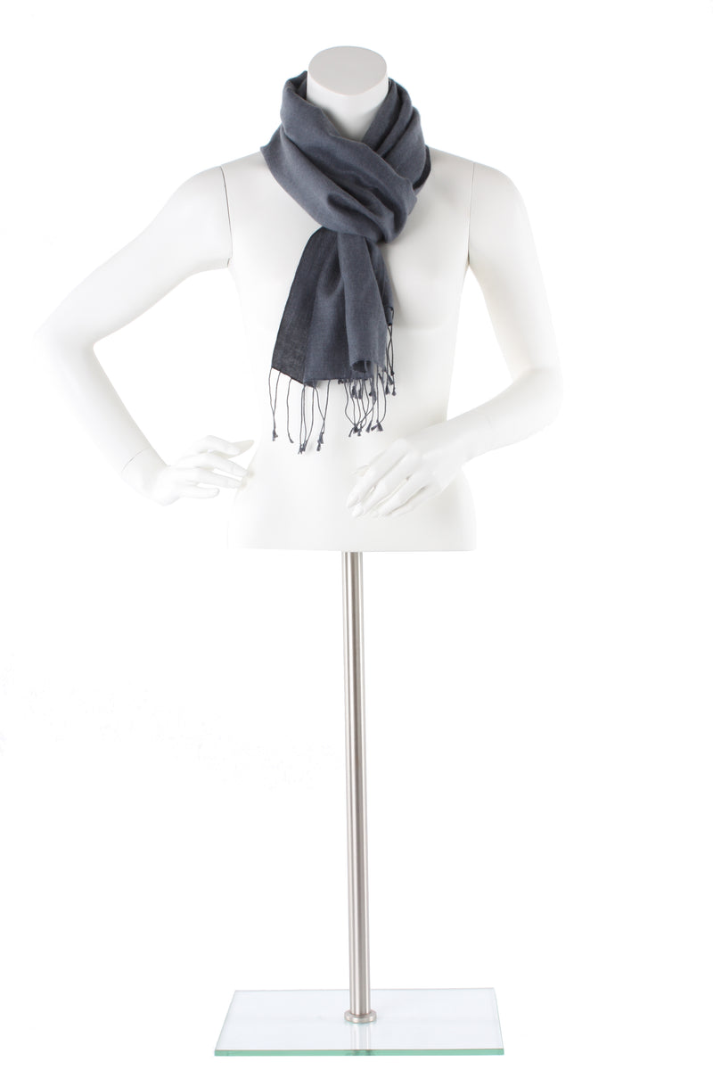 Charcoal Cashmere and Silk Scarf