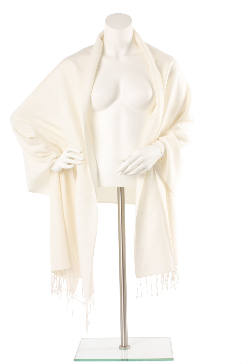 Cream Cashmere and Silk Oversized Scarf