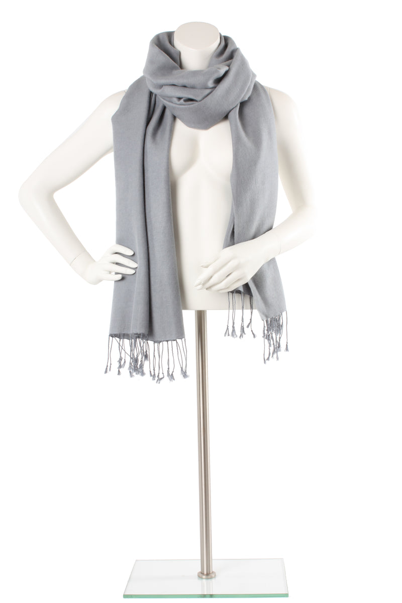 Coin Silver Grey Cashmere and Silk Oversized Scarf