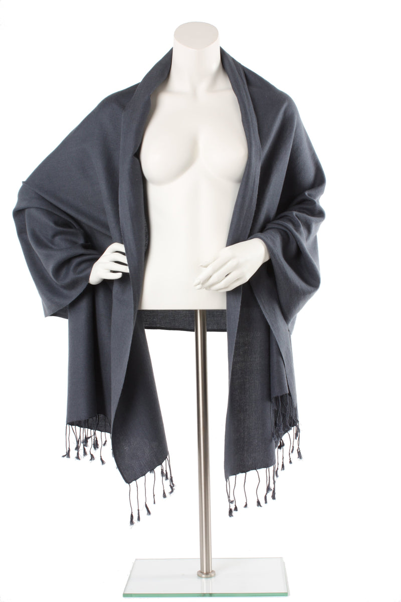 Charcoal Cashmere and Silk Oversized Scarf