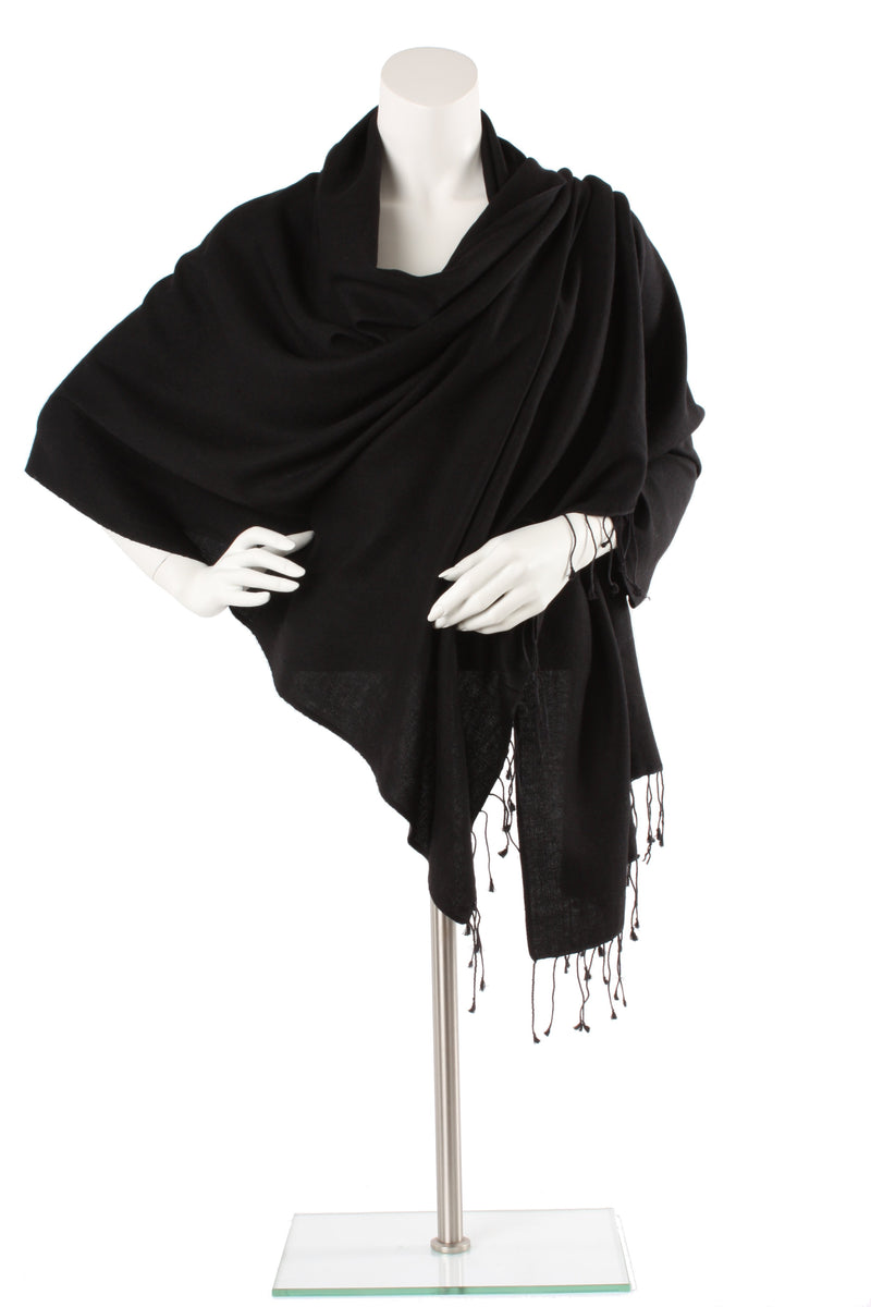 Black Cashmere and Silk Oversized Scarf