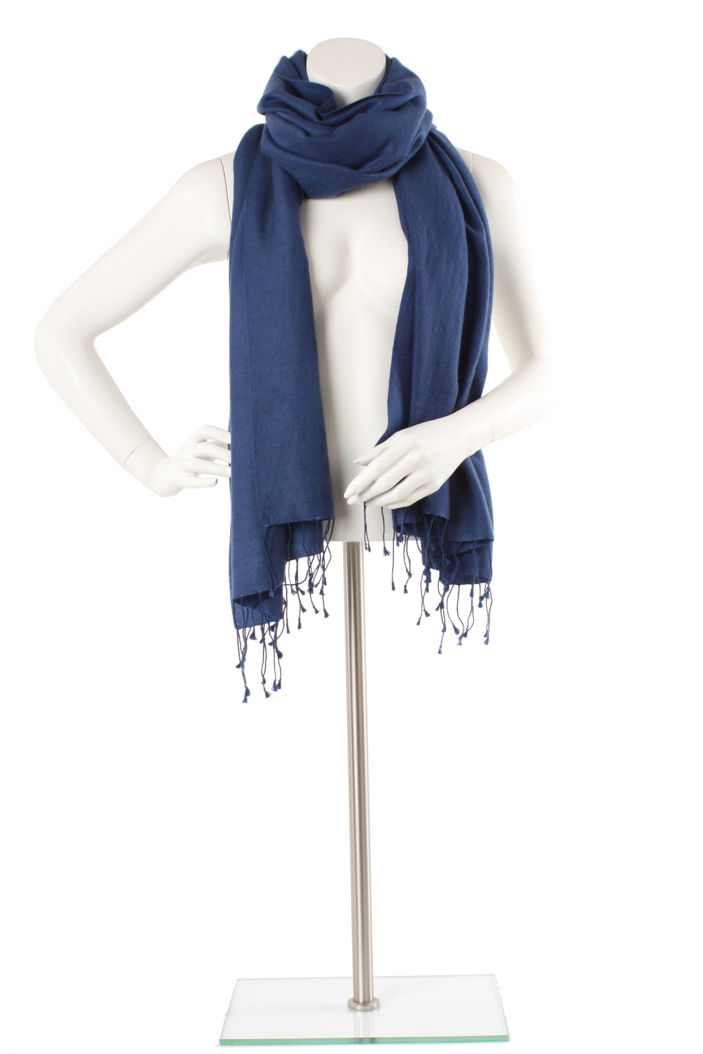 Rich Blue Cashmere and Silk Oversized Scarf