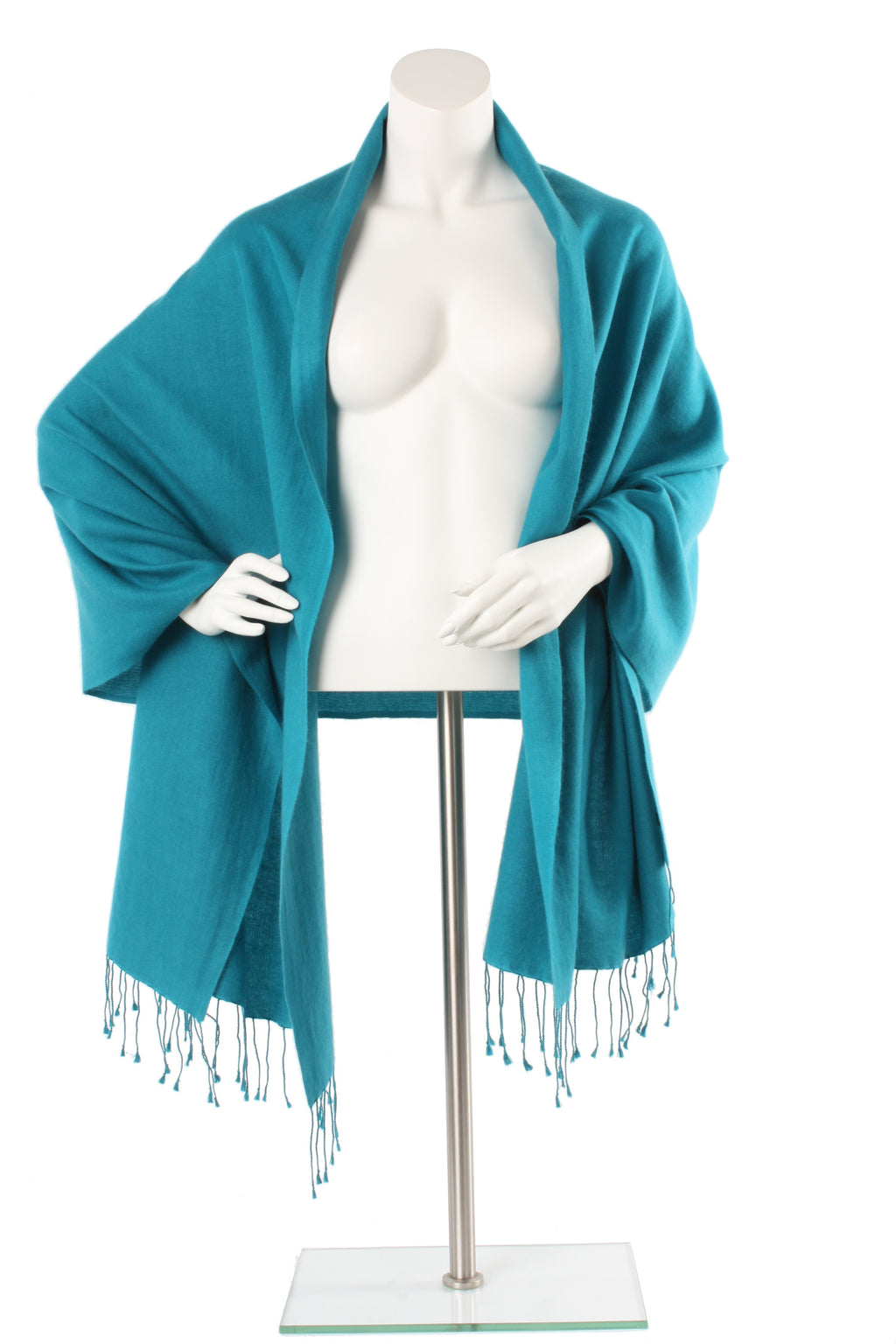 Titan Blue Green Cashmere and Silk Oversized Scarf