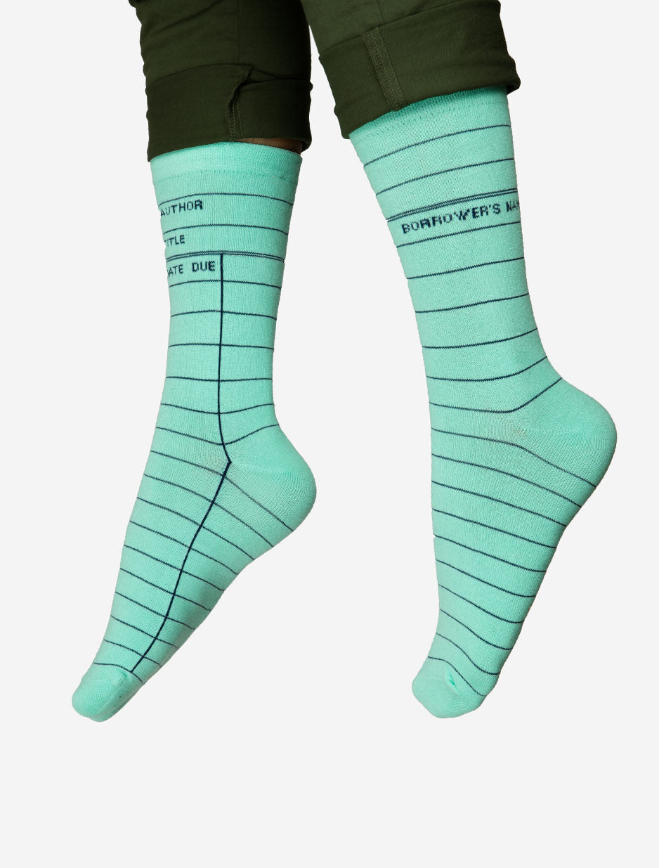 Mint Library Card Adult Socks