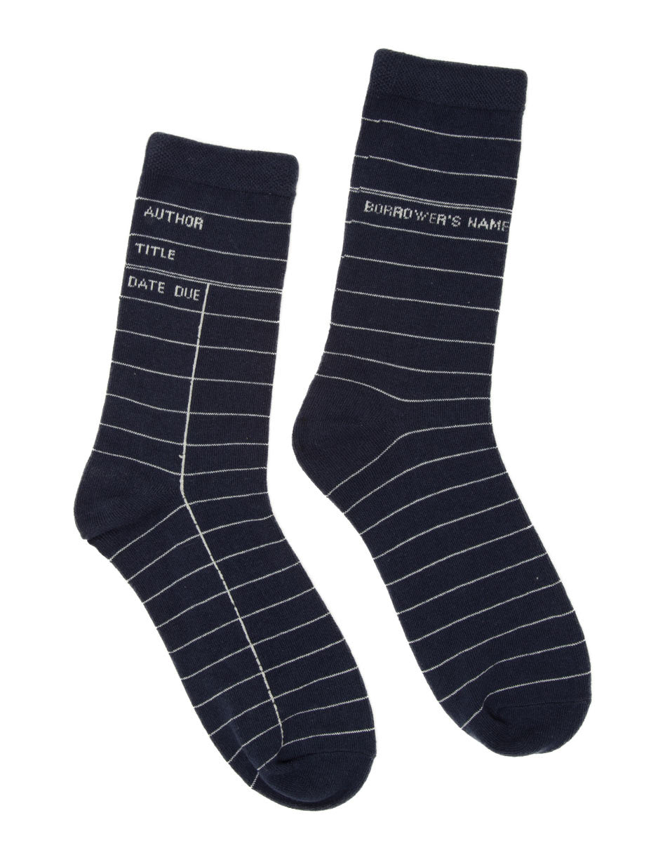 Navy Library Card Adult Socks