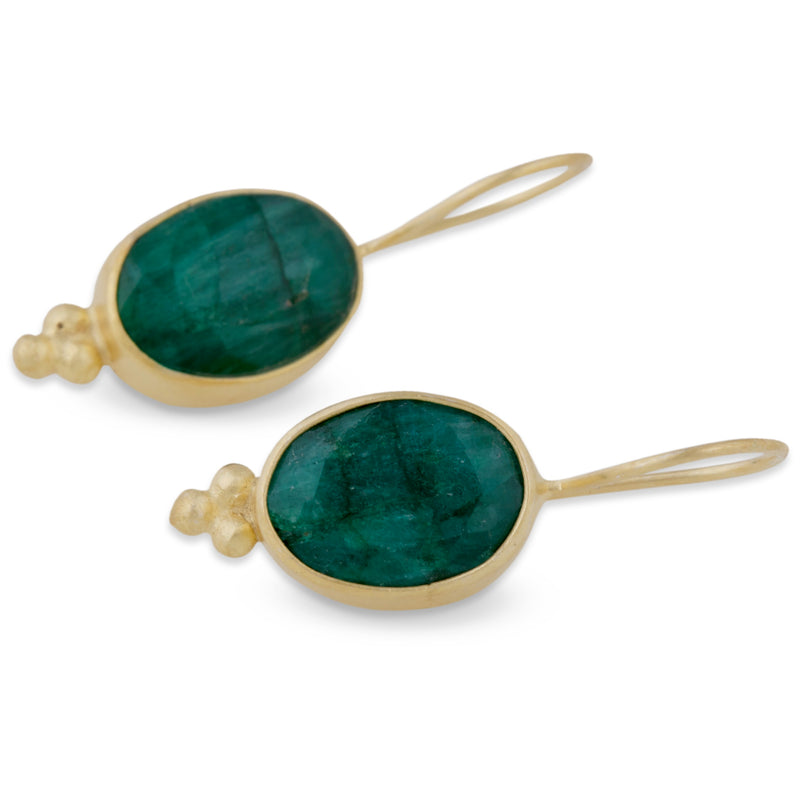 Emerald Ovoid Earrings