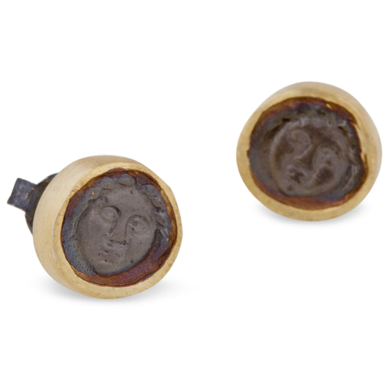 Greek Coin Stud Earrings