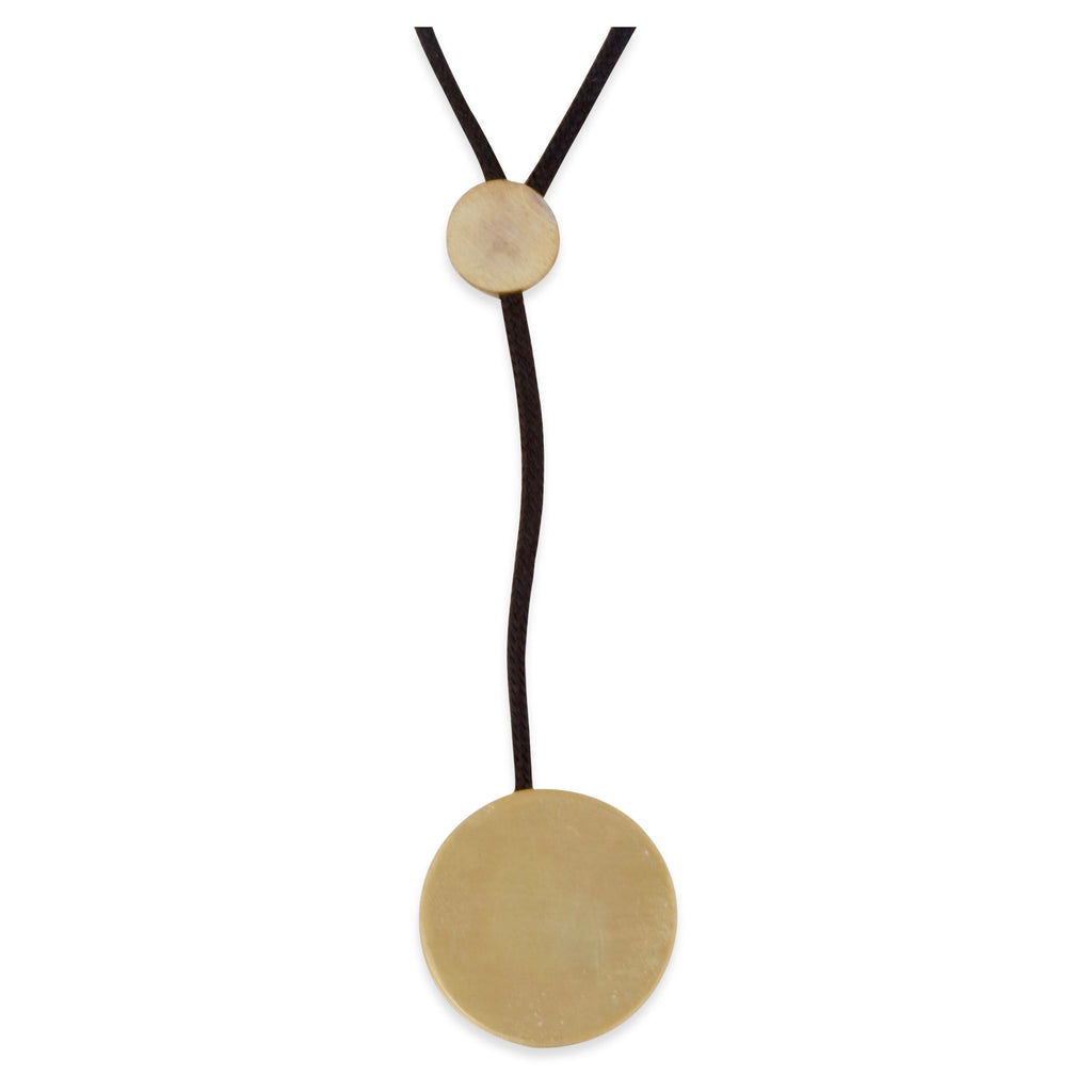 Matte Gold Disc Necklace with Cord