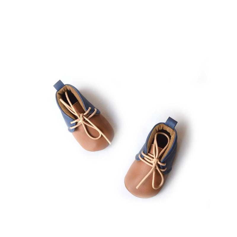 Tan & Denim Blue Two Tone Lace Up