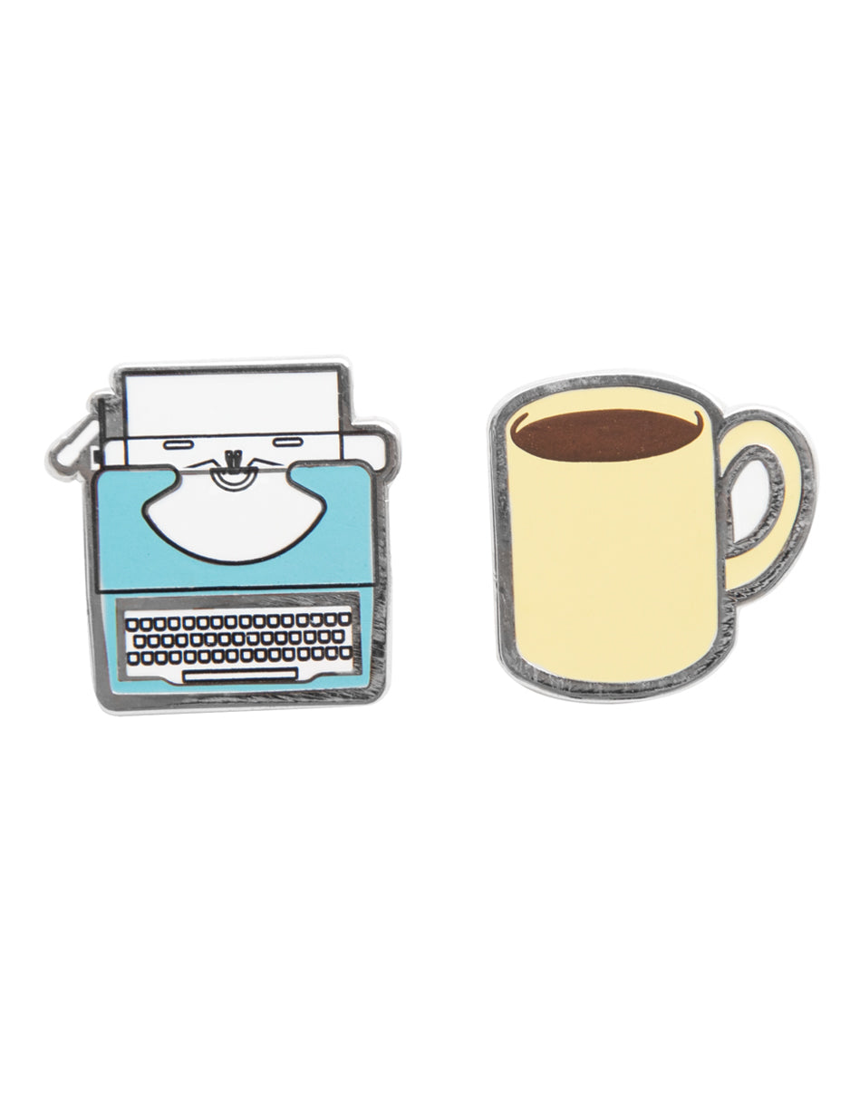 Typewriter & Coffee Enamel Pin Set