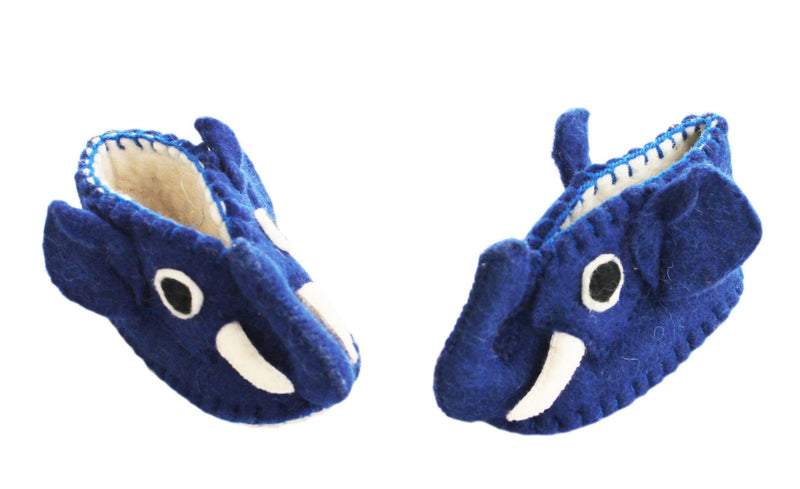 Blue Elephant Baby Booties