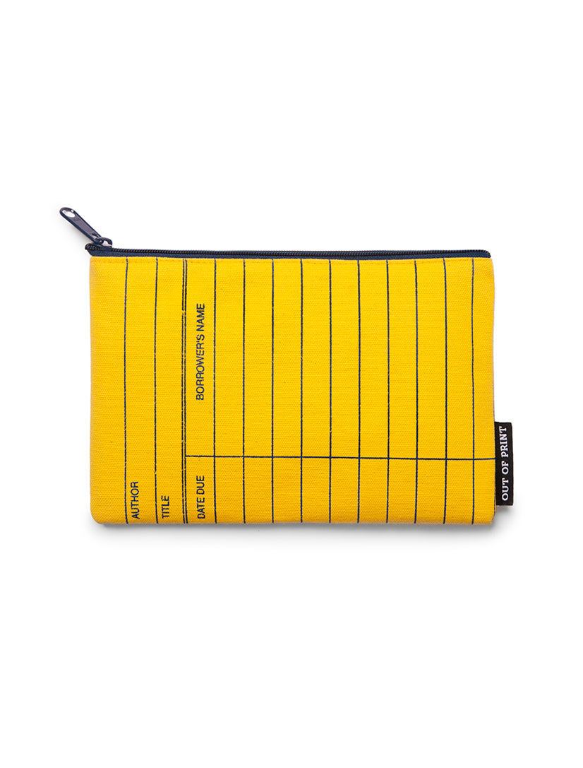 Library Card Yellow Zipped Pouch
