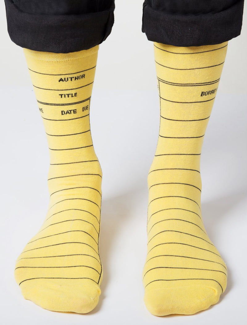 Yellow Library Card Adult Socks