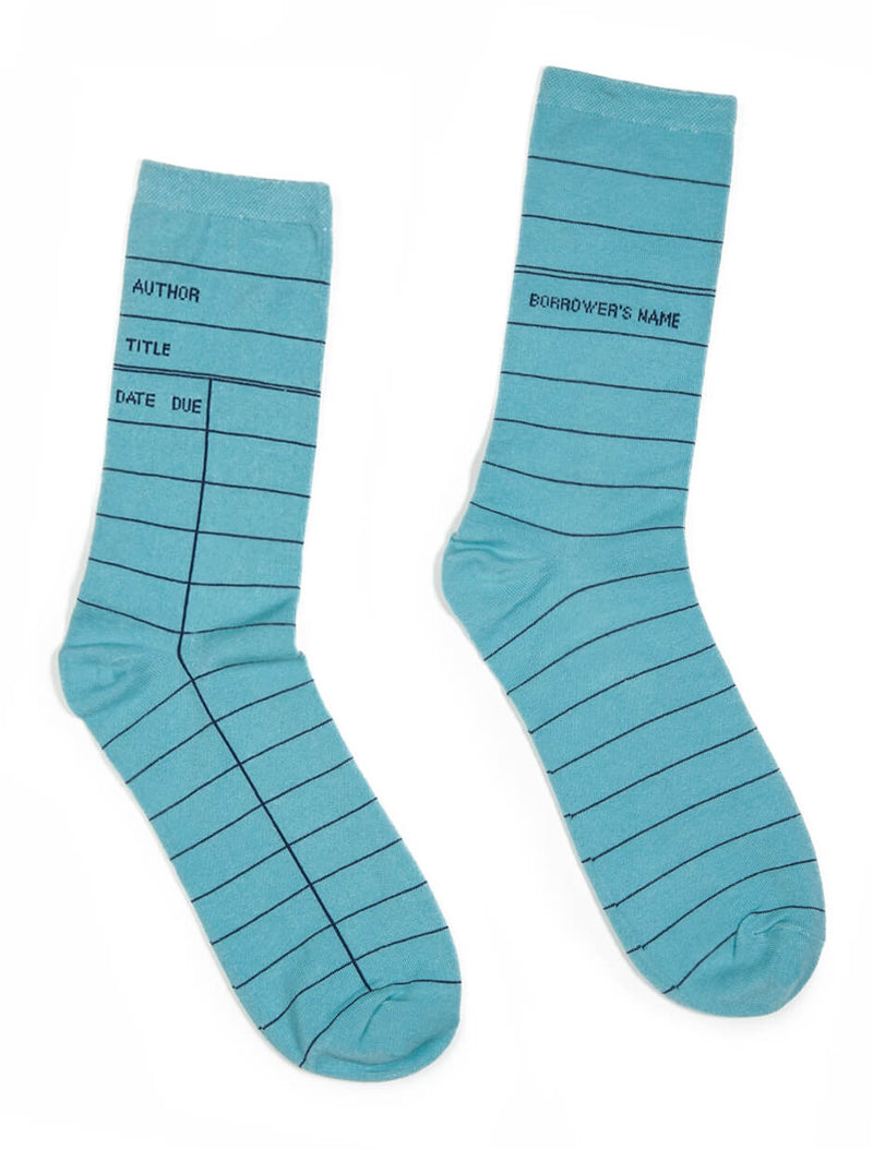 Blue Library Card Adult Socks