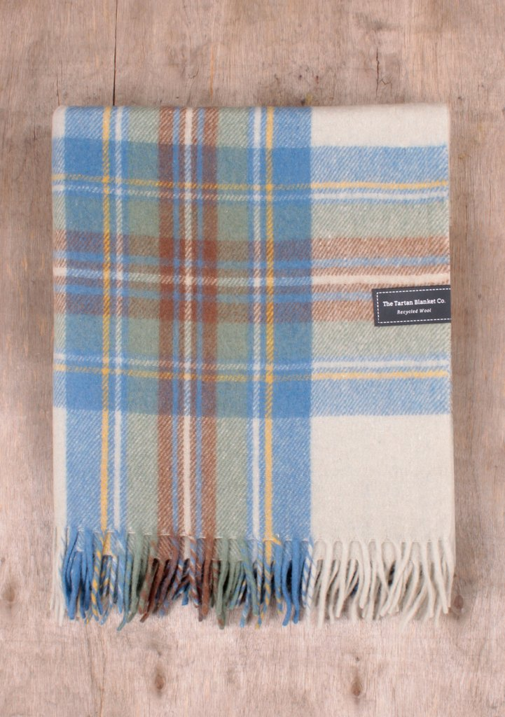 Stewart Muted Blue Tartan Blanket