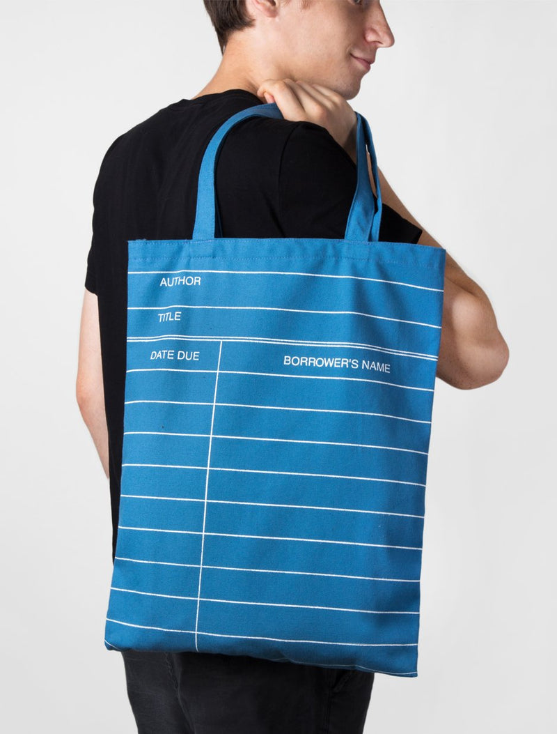 Blue Library Card Tote Bag