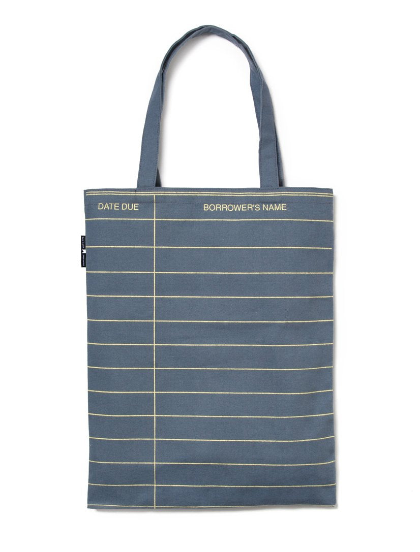 Grey Library Card Tote Bag