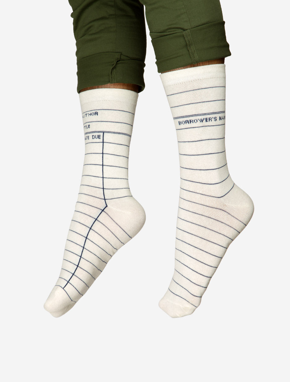 White Library Card Adult Socks