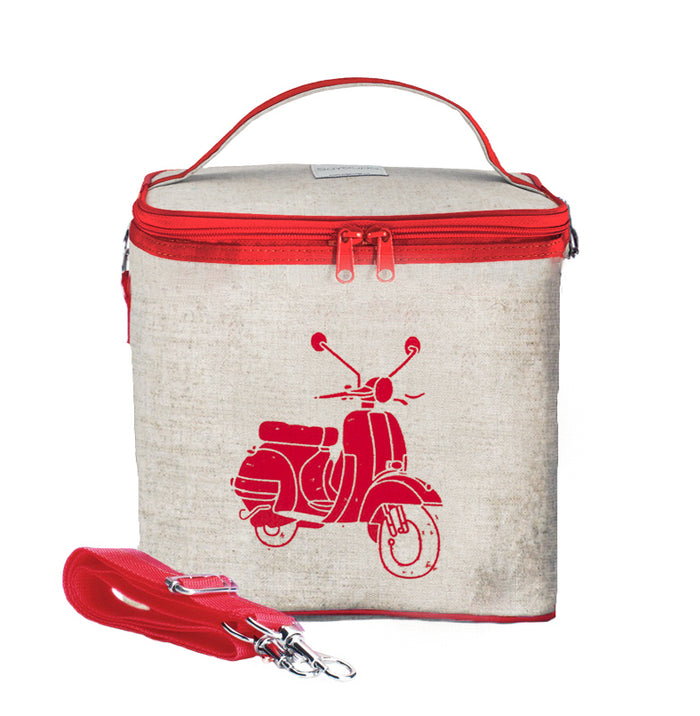 Red Vespa Scooter Small Cooler Bag