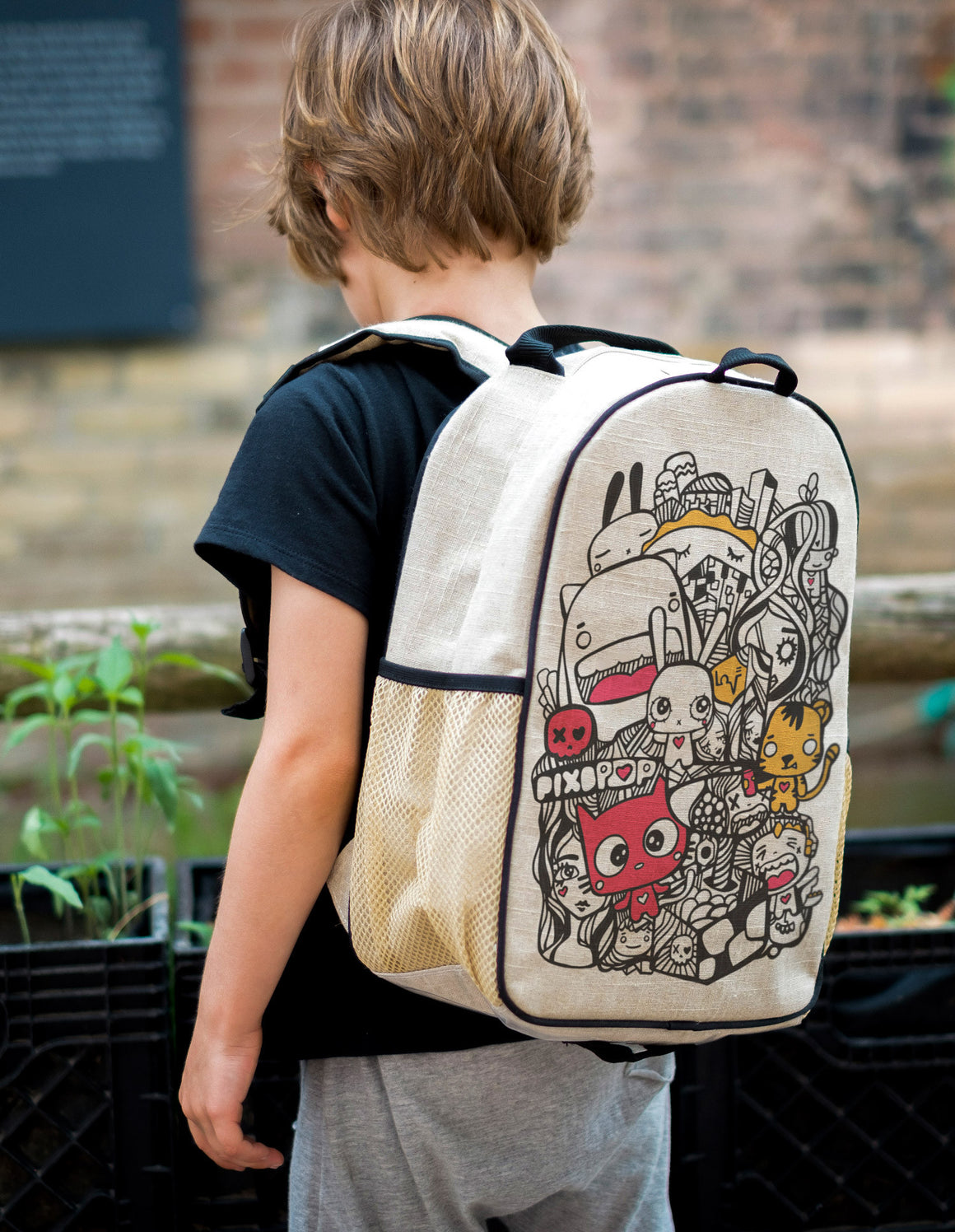RAW LINEN- Pixopop Pishi and Friends Toddler Backpack