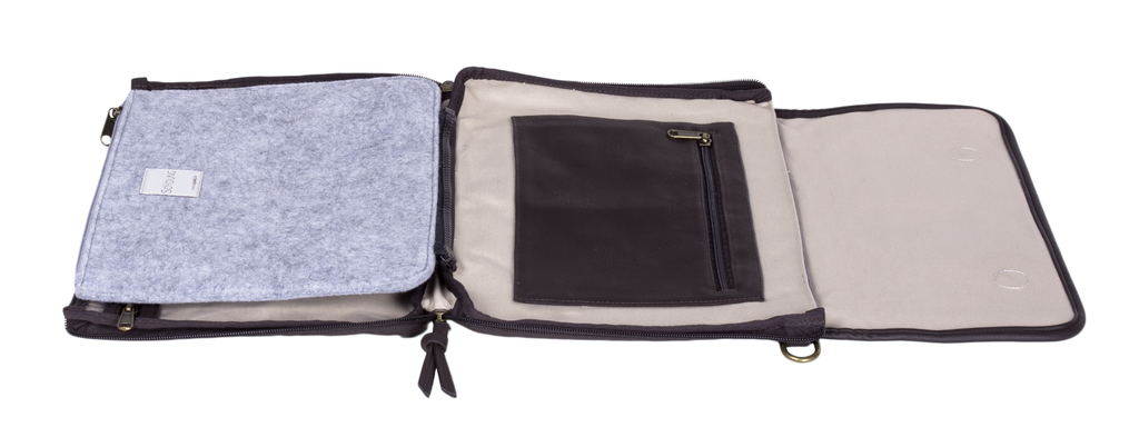 Charcoal Sydney Messenger Diaper Bag in Waxed Canvas