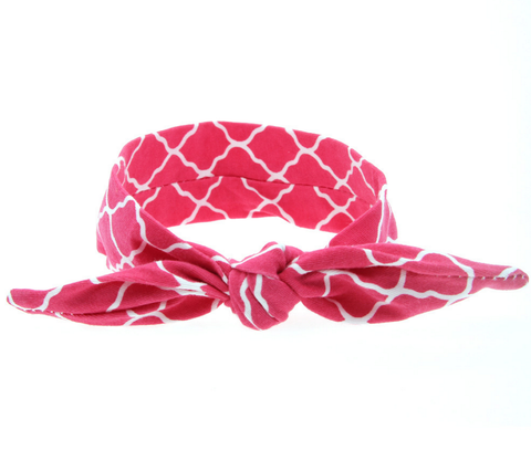 Red Geo Knotted Headband