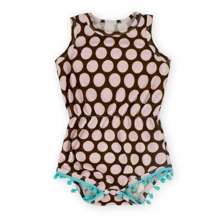 Mocha and Pink Polka Dot Romper