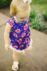Blue Floral Romper and Headband