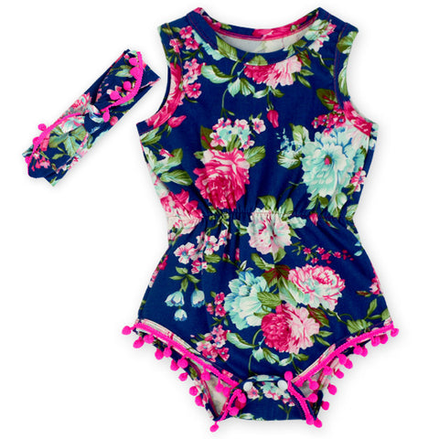 Antique Navy Rose Romper and Headband Set