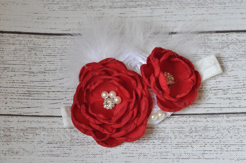 Red and White Pearl Headband