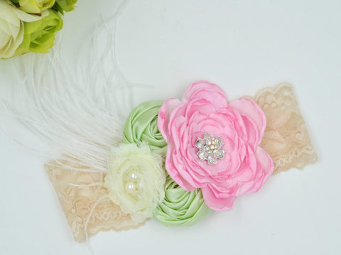 Pink and Mint Satin Lace Headband