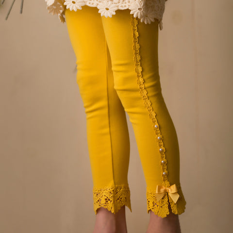 VINTAGE LACE LEGGINGS MUSTARD