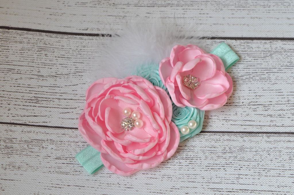 Pink and Turquoise Pearl Headband