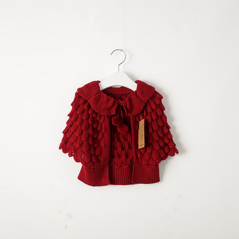 Scalloped Poncho- Crimson