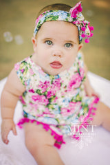 Antique Pink and Blue Rose Romper and Headband Set