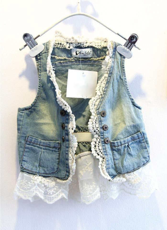 Denim and Lace Vest