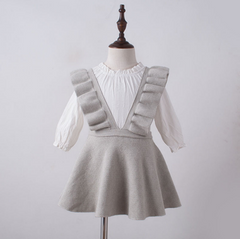 Ruffle Jumper Dress- GREY
