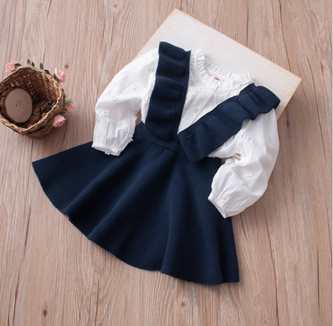 Ruffle Jumper Dress- NAVY
