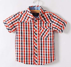 Navy and Red Button-Down Shirt