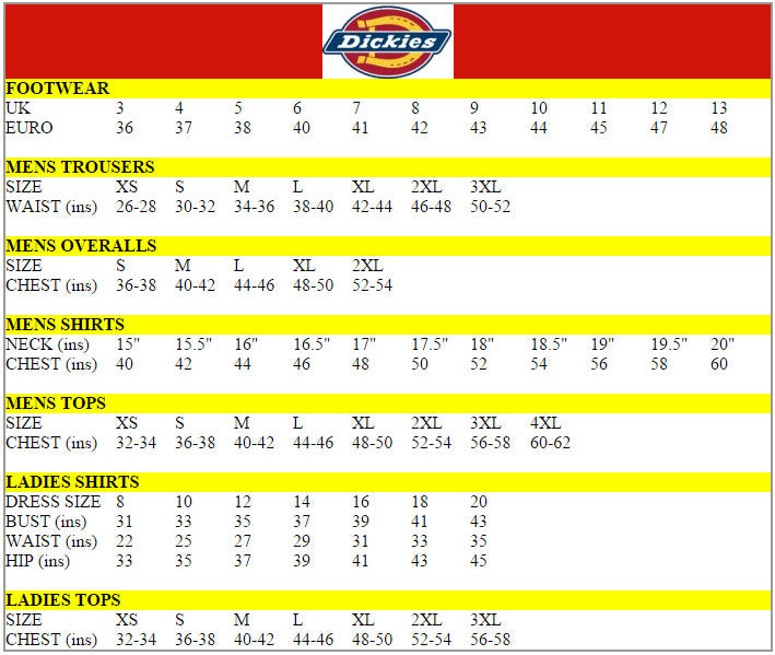 Dickies Size Chart