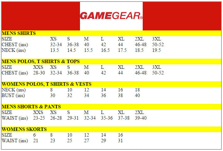 Game Gear Size Chart