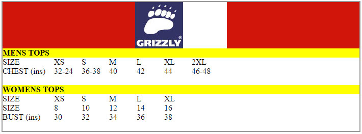 Grizzly Size Chart
