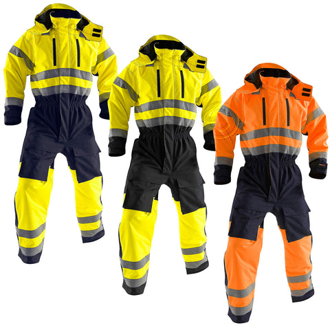 Blaklader Hi Vis Overalls with Kneepad Pockets and Wind Flap Chin Guard - 6763