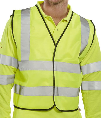 B-Seen En471 Short Hi Vis Safety Vest App G Saturn Yellow - Wcengsh - 2X Large - Hi Vis Tops BSeen