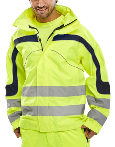 B-Seen Eton Hi Vis Jacket Waterproof & Breathable. Yellow - Et45 - 4X Large / Yellow - Hi Vis Jackets BSeen
