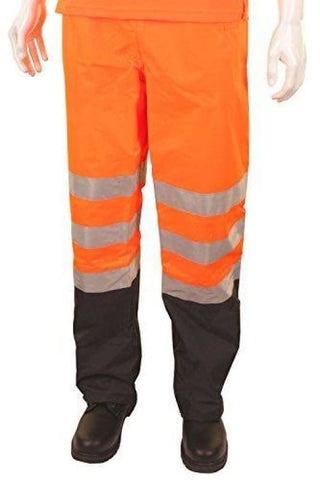 B-Seen Hi Vis Belfry Waterproof And Breathable over Trousers En471 - Bet - Large / Orange/Navy - Waterproofs BSeen