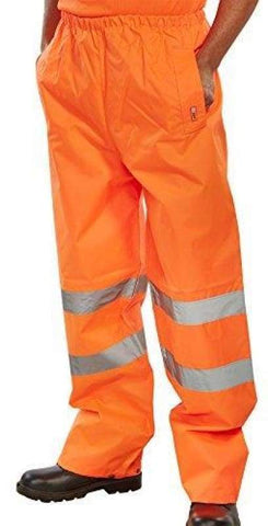 B-Seen Hi Vis Heavy Weight Pvc Coated Waterproof Trousers En471 - Ten - Large / Orange - Hi Vis Waterproofs BSeen