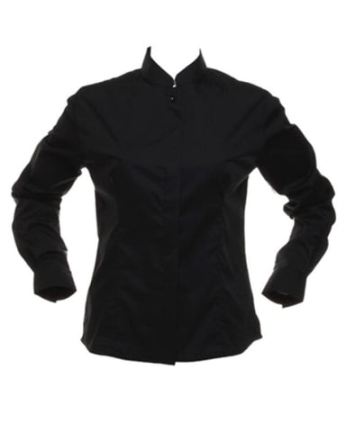 Bargear Ladies Long Sleeved Mandarin Collar Bar Shirt - KK740 - Black / 10 - Catering & Hospitality Bargear
