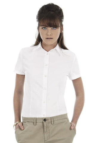 B&C Ladies Oxford Short Sleeve Corporate Shirt-SWO04 - White / XS - Shirts Polos & T-Shirts B and C