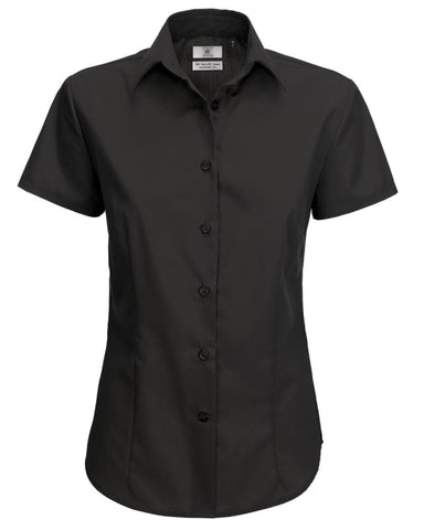 B&C Ladies Smart Short Sleeve Corporate Shirt-SWP64 - Black / 2XL - Shirts & Blouses B and C